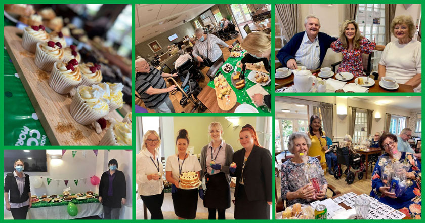 a montage of Sanctuary Retirement Living schemes celebrating MacMillan World's Biggest Coffee Morning