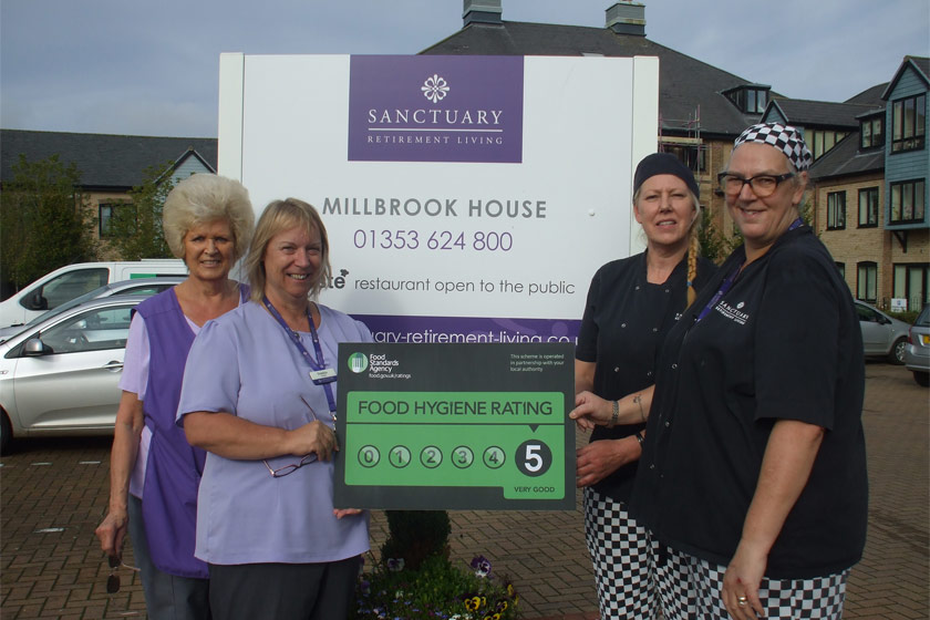 Millbrook House staff celebrate food hygiene rating