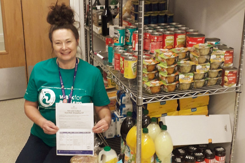 Tracey Potter, wellbeing and inclusion assistant at Jazz Court, with some of the groceries from the new tick and collect service.