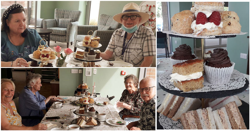 A collage of residents enjoying their afternoon tea.