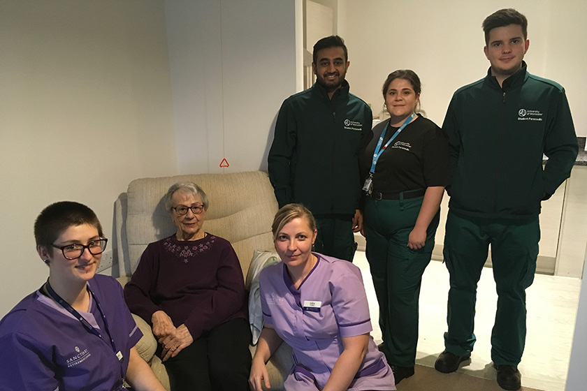 Staff and residents from Noble House with the student paramedics.