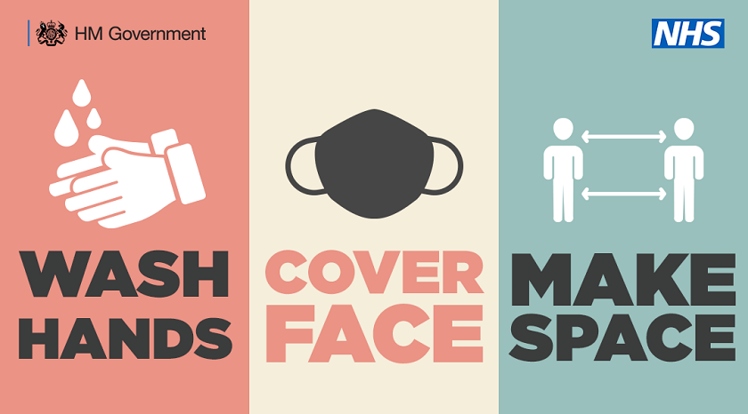 NHS and Government Covid-19 safety information encouraging the public to wash hands, cover face and make space