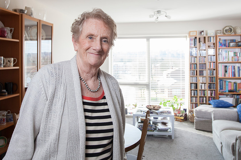 Resident Irene Slater in her two bedroom apartment at Baskeyfield House