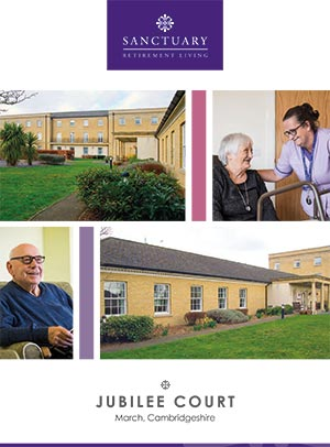 Front cover of Jubilee Court brochure.