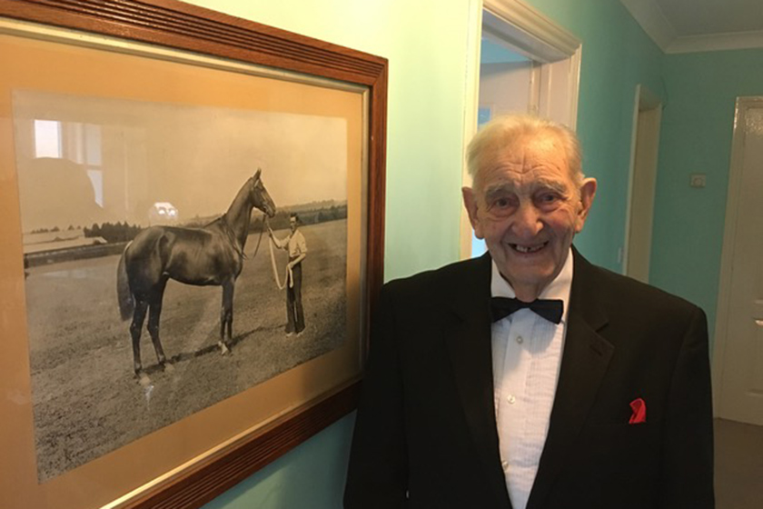 Roland Hutchinson, resident at Exning Court celebrates his 100th birthday