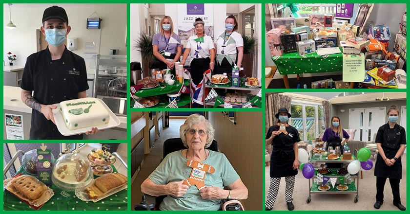 Collage of photos of residents and staff at various Retirement Living schemes enjoying McMillan Coffee Mornings.