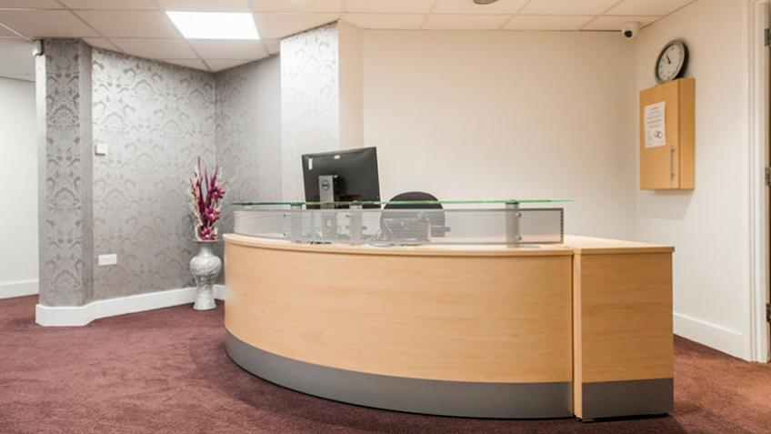 The reception area at Hillyard House