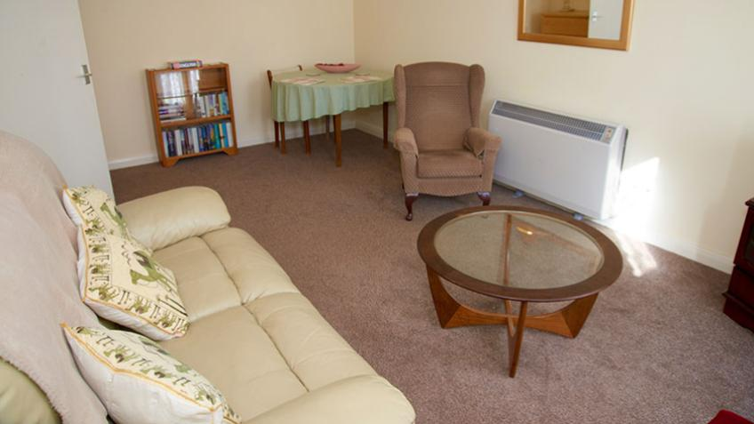 Living area in a typical flat at Harry Garrett Court