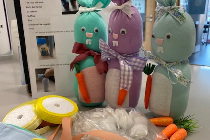 The Easter bunnies crafted by residents at Sanctuary Retirement Living's Baskeyfield House in Stoke.