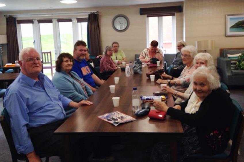 A picture of Moreton Court residents mark Mental Health Awareness Week