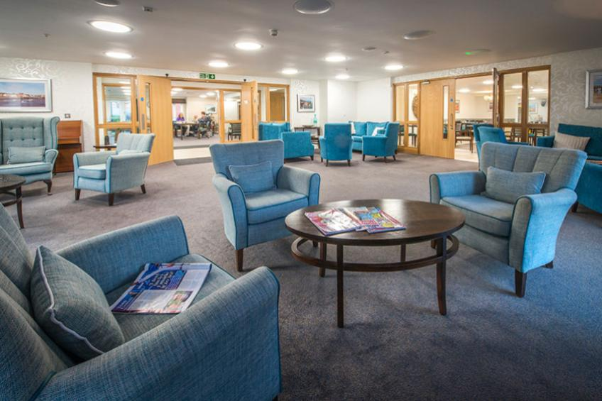 Communal lounge area inside Moreton Court