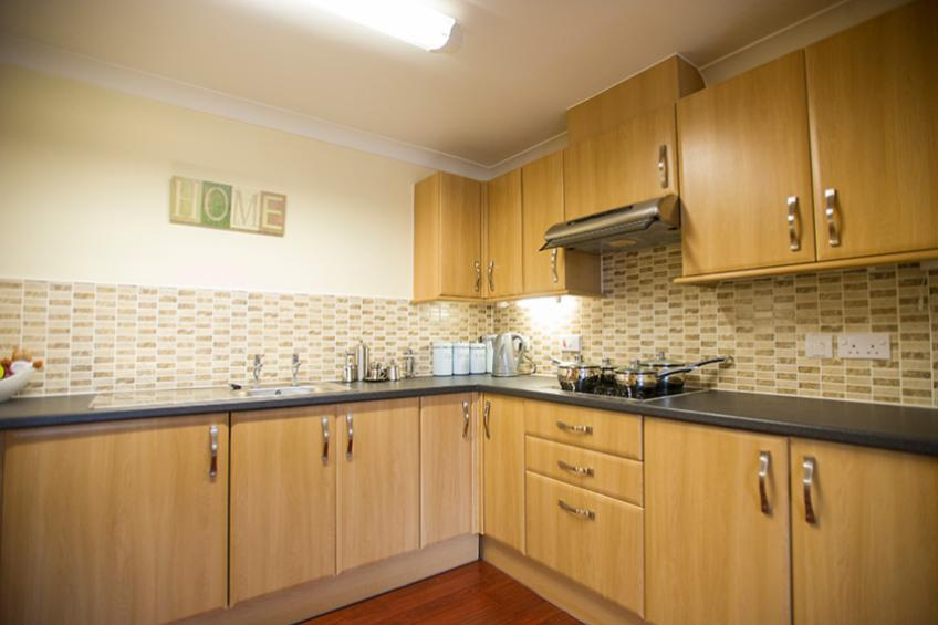 A typical fitted kitchen in a retirement living apartment