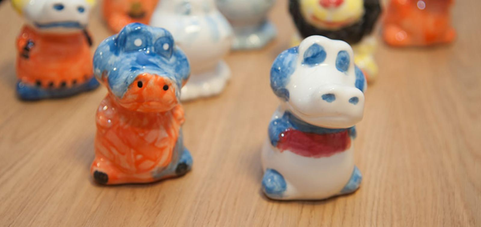 A selection of the pottery creatures painted by residents.
