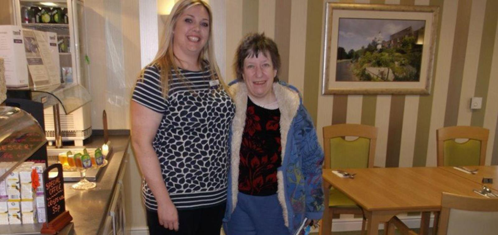 Scheme service manager Grace Beer with Dunboyne Court resident Jane Gibbs.
