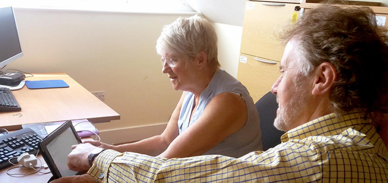 Residents at Millbrook House in Ely getting to grips with the digital world